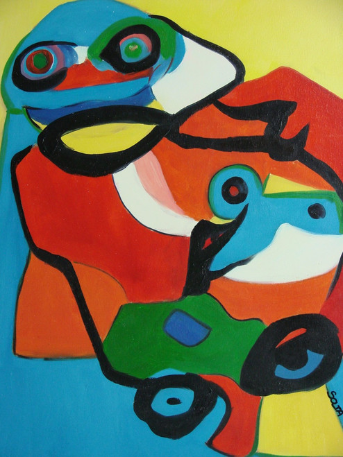 Abstract medium sized painting, stretched but without frame,  by Soja.  Bright blue, yellow, red, orange and green abstract shapes are accented with black outlines.