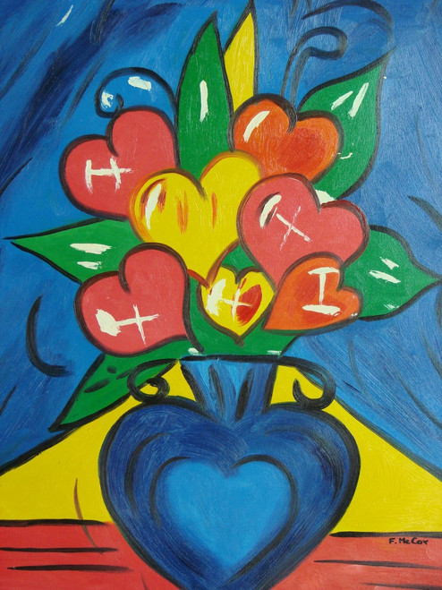 Abstract medium sized painting, stretched but without frame,  by F. McCoy.  Heart shaped flowers of yellow and red fill a bright blue vase.