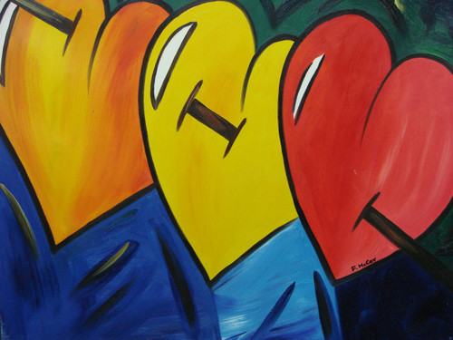 Abstract medium sized painting, stretched but without frame,  by F. McCoy.  Large hearts of orange, yellow and red are pierced by a sword in front of a deep blue and green background.
