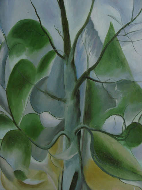 Abstract painting, stretched but without frame,  by Legendre.  Large green leaves grow on a thick stalk in front of a grey background.
