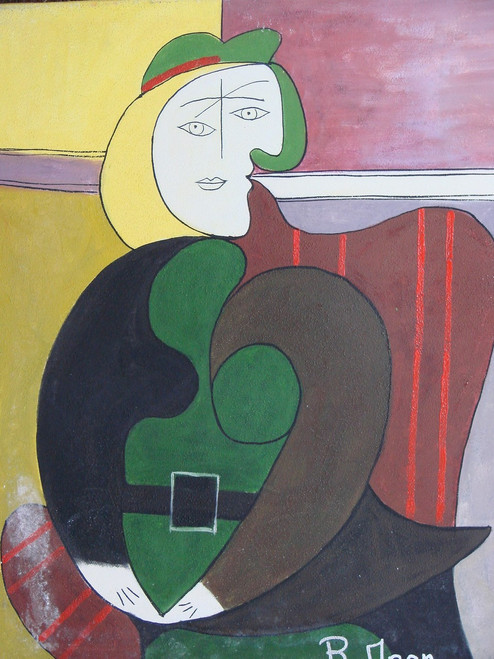 Abstract medium sized painting, stretched but without frame,  by R. Moon.  An abstract portrait of a woman wearing green, black and brown, sits in a striped crimson chair.