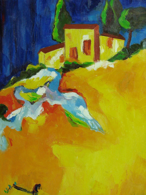 Abstract medium sized painting, stretched but without frame,  by Sarn.  Yellow buildings sit under green tree with a vast light orange field in front of them.
