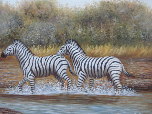 Beautiful painting, stretched but without frame, by Jackson.  Two zebras walk through water surrounded by a grassland.