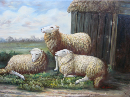 Beautiful medium sized painting, stretched but without frame, by M. Aaron.  Three sheep gather together outside a small barn.