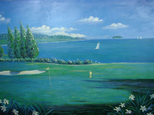 Beautiful large painting, stretched but without frame, by Rosen.  A golfer dressed in light yellow sets up for a long putt with sailboats in blue water in the background.