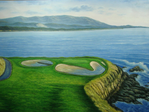 Beautiful large painting, stretched but without frame, by Rosen.  Bright blue water meets the edge of a green golf course with green trees.