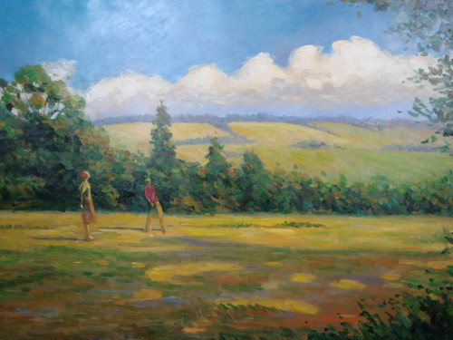 Beautiful large painting, stretched but without frame, by Rosen.  A man and woman golf on a yellowing course with green shrubs.