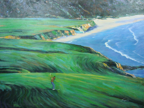 Beautiful large painting, stretched but without frame, by Kingsley.  A golfer in blue pants and a brown shirt takes a stroke on a green fairway overlooking blue water.