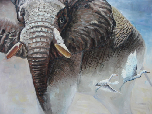 Beautiful medium sized painting, stretched but without frame, by Mike.  An elephant creates a cloud of dust was it walks and two white birds fly out of the elephants path.