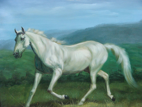 Beautiful medium sized painting, stretched but without frame, by S. Charles.  A white horse walks through a green pasture.