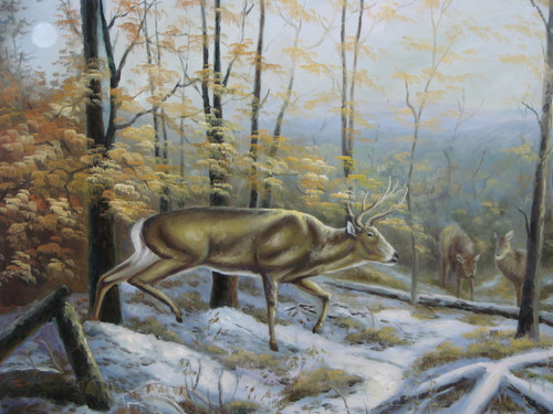 Beautiful medium sized painting, stretched but without frame, unsigned.  A snow covered woods contains three whitetail deer.