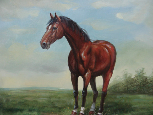 Beautiful painting, stretched but without frame, by S. Charles.  A brown horse stands in a field of green grass under a blue sky.