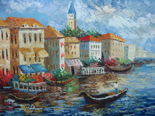 Beautiful large painting, stretched but without frame, by Jaster.  Gondolas fills the wavy, blue water near a row of villas surrounded by colorful, flowering shrubs.