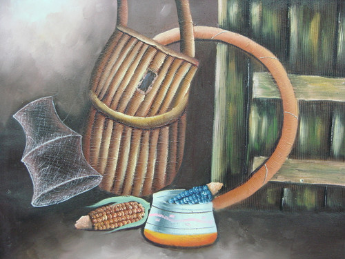 Beautiful medium sized painting, stretched but without frame, by San.  A fishing basket and net hang on a wall near colorful corn cobs and a small Native American pot on the floor.