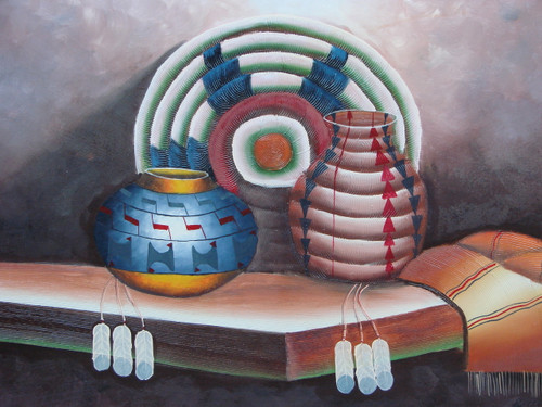 Beautiful medium sized painting, stretched but without frame, by Betty.  A wooden table holds Native American artifacts including a light brown blanket, clay pots of blue and red, and a woven piece of light green with dark blue accents.