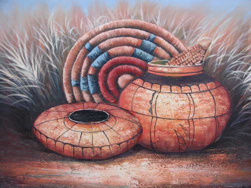 Beautiful medium sized painting, stretched but without frame, by Betty.  Clay Native American pots are detailed in black and sit in a wheat field with a woven piece of art accented in blue and red.