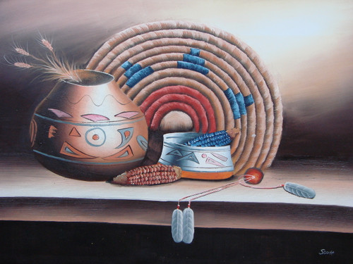 Beautiful large painting, stretched but without frame, by Scott.  Native American pots, holding wheat and corn, and woven art are accented by blues and reds.