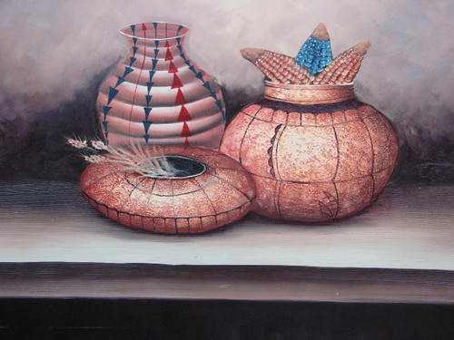 Beautiful large painting, stretched but without frame, by Scott.  Native American pots and basket are accented with bright blue and red.