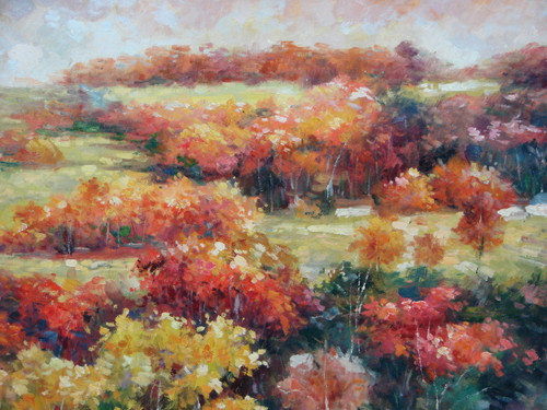 Beautiful medium sized painting, stretched but without frame, by Paul Seward.  A forest to orange and golden yellow trees grow in a field of light brown grass.