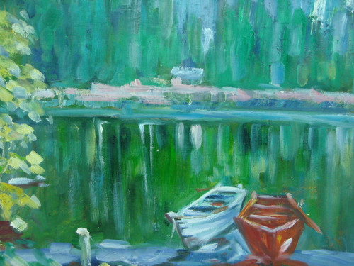 Beautiful medium sized painting, stretched but without frame, by Taylor.  Two rowboats are tied to a dock in a pond reflecting the green trees growing on the banks.