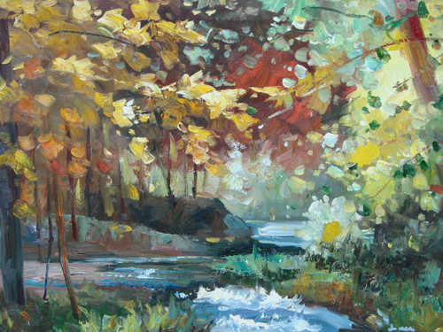 Beautiful medium sized painting, stretched but without frame, by Sarn.  A river curves through a forest filled with red, orange and yellow leafed trees.