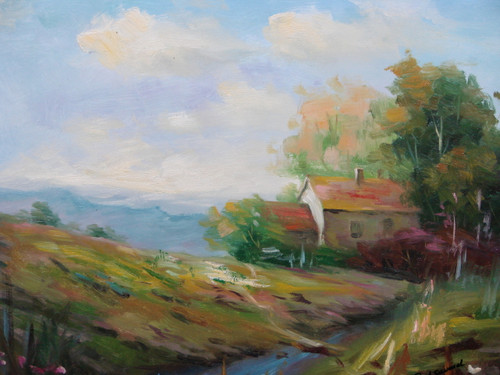 Beautiful medium sized painting, stretched but without frame, by Paul Seward.  A tan house sits at the bottom of a hill surrounded by green trees and red shrubs.