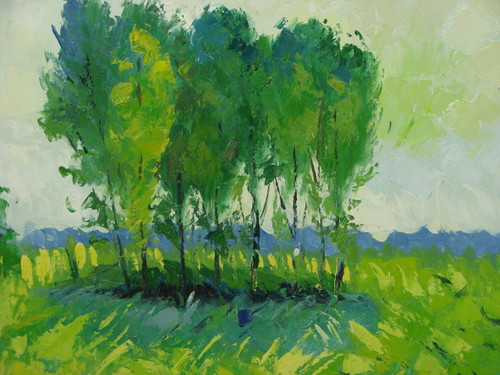 Beautiful medium sized painting, stretched but without frame, by Kingsley.  A group of bright green trees grow in a yellow field of grass, under a grey sky.