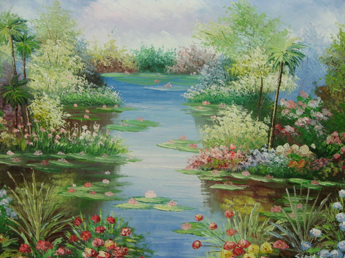 Beautiful medium sized painting, stretched but without frame, by Scott.  Lily pads with pink flowers bloom in a blue pond surrounded by ferns, palm trees, and colorful flowers.