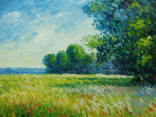 Beautiful medium sized painting, stretched but without frame, by Sandra Lepine.  A grassy meadow with red and light blue flowers is shaded by tall, leafy green trees.