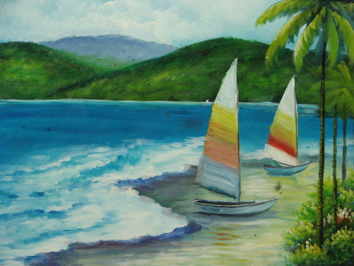 Beautiful medium sized painting, stretched but without frame, by Taylor.  Two boats with colorful sails are anchored on the sandy shore of a bright blue sea.