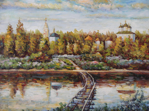 Beautiful medium sized painting, stretched but without frame, by Sandra Lepine.  A rustic bridge sinks into the reflective grey river providing access to churches surrounded by leafy golden-yellow trees.