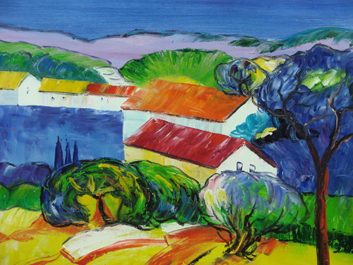 Beautiful medium sized painting, stretched but without frame, by Well.  White buildings with red and oranges roofs sit in a colorful landscape of blue and green trees and yellow grass.