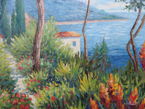 Beautiful medium sized painting, stretched but without frame, by Mickail.  The red roof of a villa peaks through the green ferns and orange and red flowers with a bright blue sea in the background.