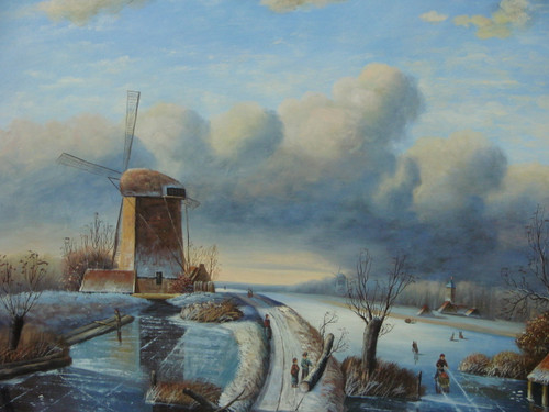 Beautiful medium sized painting, stretched but without frame, by Denis Lagare.  An old windmill sits on snow covered ground surrounded by men working on the frozen river.