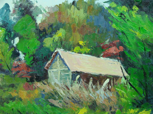 Beautiful medium sized painting, stretched but without frame, by Sarn.  An old barn with a beige roof is being overgrown by bright green trees and tall brown and green grasses.