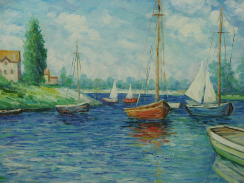 Beautiful medium sized painting, stretched but without frame, by Mickail.  Sailboats fill the bright blue waters of a bay with a shoreline of green trees and grass.