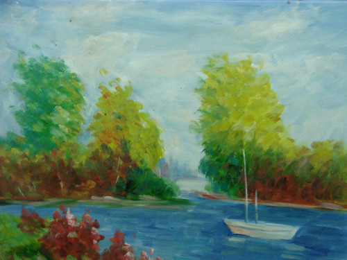 Beautiful medium sized painting, stretched but without frame, by Taylor.  A small boat floats in bright blue water surrounded by banks covered in green grass and tall trees.
