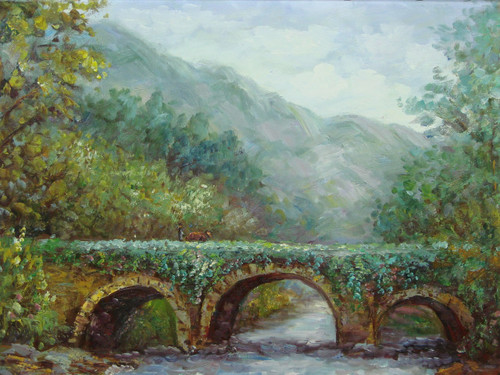Beautiful medium sized painting, stretched but without frame, by Sandra Lepine.  Dark green trees and ivy surround a stone bridge that arches over dark blue water.