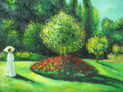 Beautiful medium sized painting, stretched but without frame, by Sandra Lepine.  A woman dressed in white walks along in a garden of lush green grass and bushes with red flowers.