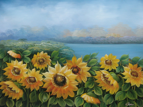 Beautiful painting, stretched but without frame, by V. Miller.  Rows of sunflowers bloom in front of blue water.