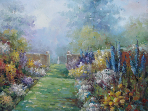 Beautiful, medium sized painting, stretched but without frame, by Rene.  Yellow, white, and blue flowers line the stone walls of a grassy path that leads to an opening of tall trees.