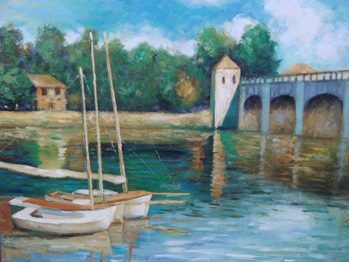 Beautiful medium sized painting, stretched but without frame, by Mickail.  Sail boats sit idle in water reflecting a stone bridge and tree lined banks.