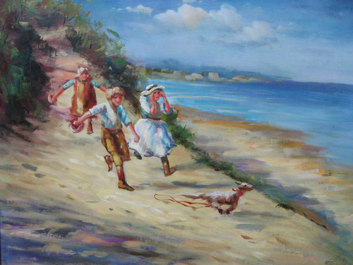Beautiful medium sized painting, stretched but without frame, by Lilly.  A group of children run along a sandy beach after a dog.
