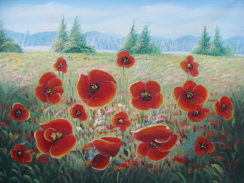Beautiful medium sized painting, stretched but without frame, by Raspail.  Red poppies and light pink wildflowers fill a meadow with tall green pine trees in the background.