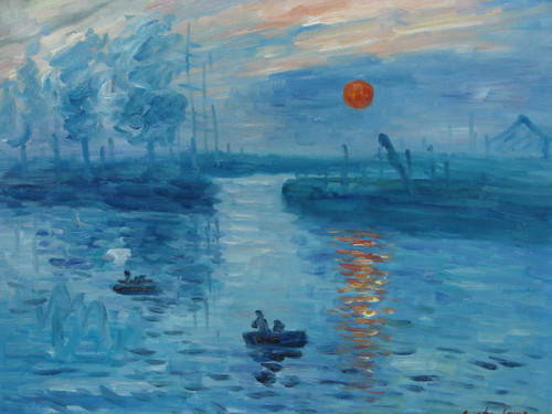 Beautiful painting, stretched but without frame, by Sandra Lepine.  Boats fill a marina as the red sun reflect on deep blue water.