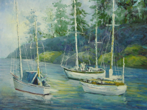 Beautiful medium sized painting, stretched but without frame, by Raspail.  Three large sail boats navigate light blue water near stony banks covered in tall pine trees.