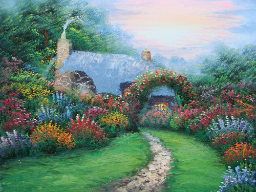 Beautiful medium sized painting, stretched but without frame, by Simon.  At the end of a narrow dirt path, a Thomas Kinkade inspired cabin sits surrounded by flowering shrubs of blue, orange, red and pink.
