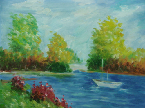 Beautiful, medium sized painting, stretched but without frame, by Taylor.  A small boat sails through bright blue water surrounded by green trees and purple shrubs along the banks.