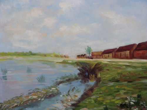 Beautiful painting, stretched but without frame, by Yovish K..  A row of brown buildings sit on the edge of a grassy field overlooking a pond filled with light blue water.