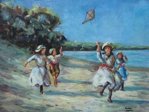 Beautiful, medium sized painting, stretched but without frame, by Sandra Lepine.  Children run along a beach, playing with a kite.